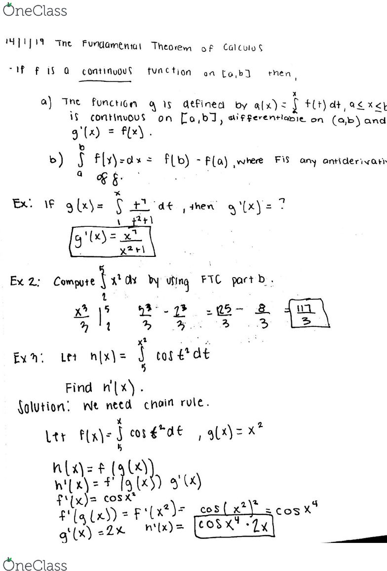 MATH 2B Lecture 4: Fundamental Theorem of Calculus - OneClass