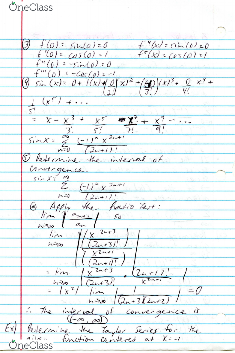 MAC 2312 Lecture 70: Study Guide 70 (Taylor and Maclaurin Series)