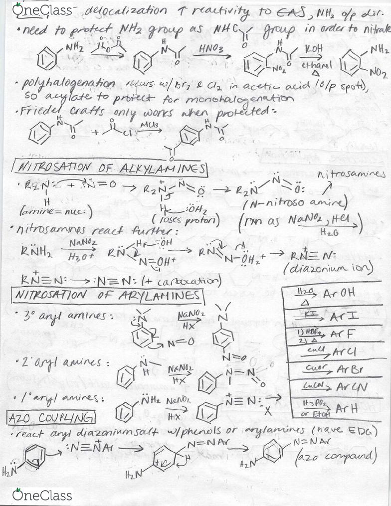 CHEM 239 Chapter 23: Amines: EAS, Nitrosation of Alkyl/Arylamines
