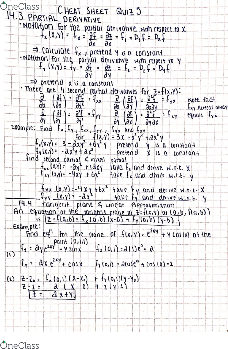 3450:223 Lecture 14: Calculus 3 notes-topic,Partial