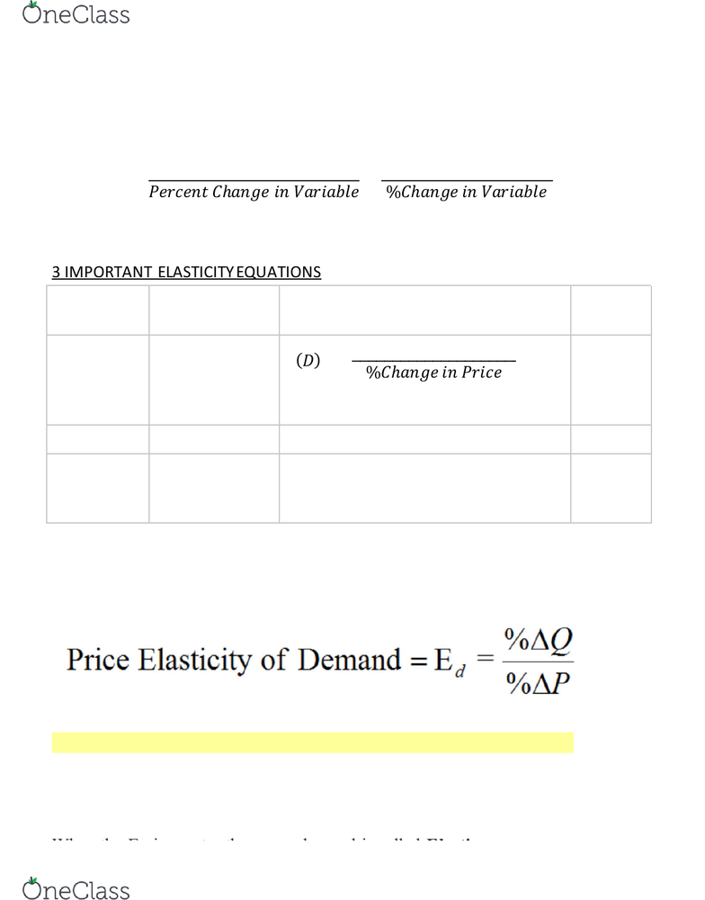 Econ 160 Study Guide Fall 2018 Quiz Demand Curve Midpoint Method