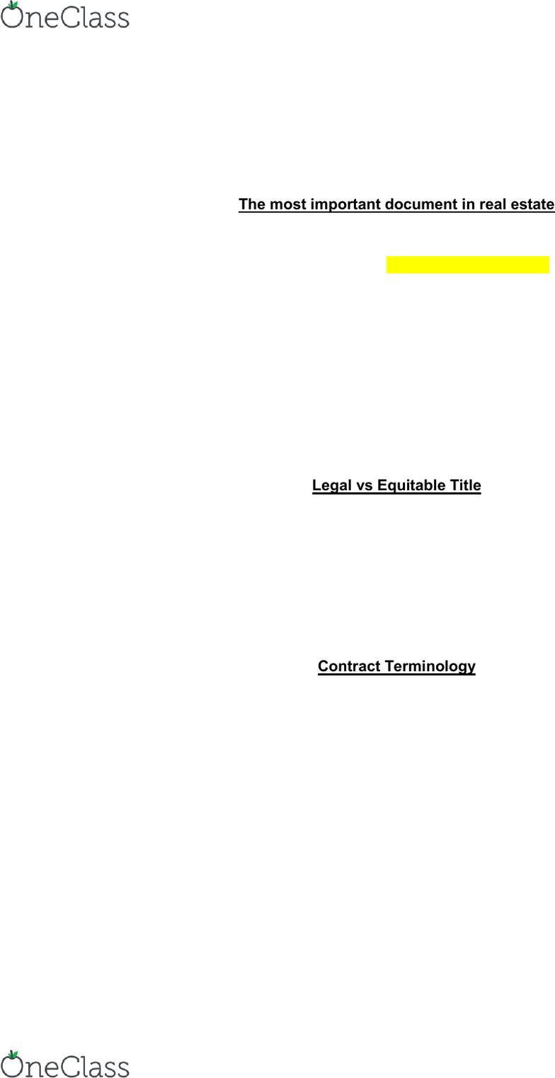 REE 3043 Study Guide - Quiz Guide: Rescission, Liquidated Damages,  Financial Institution