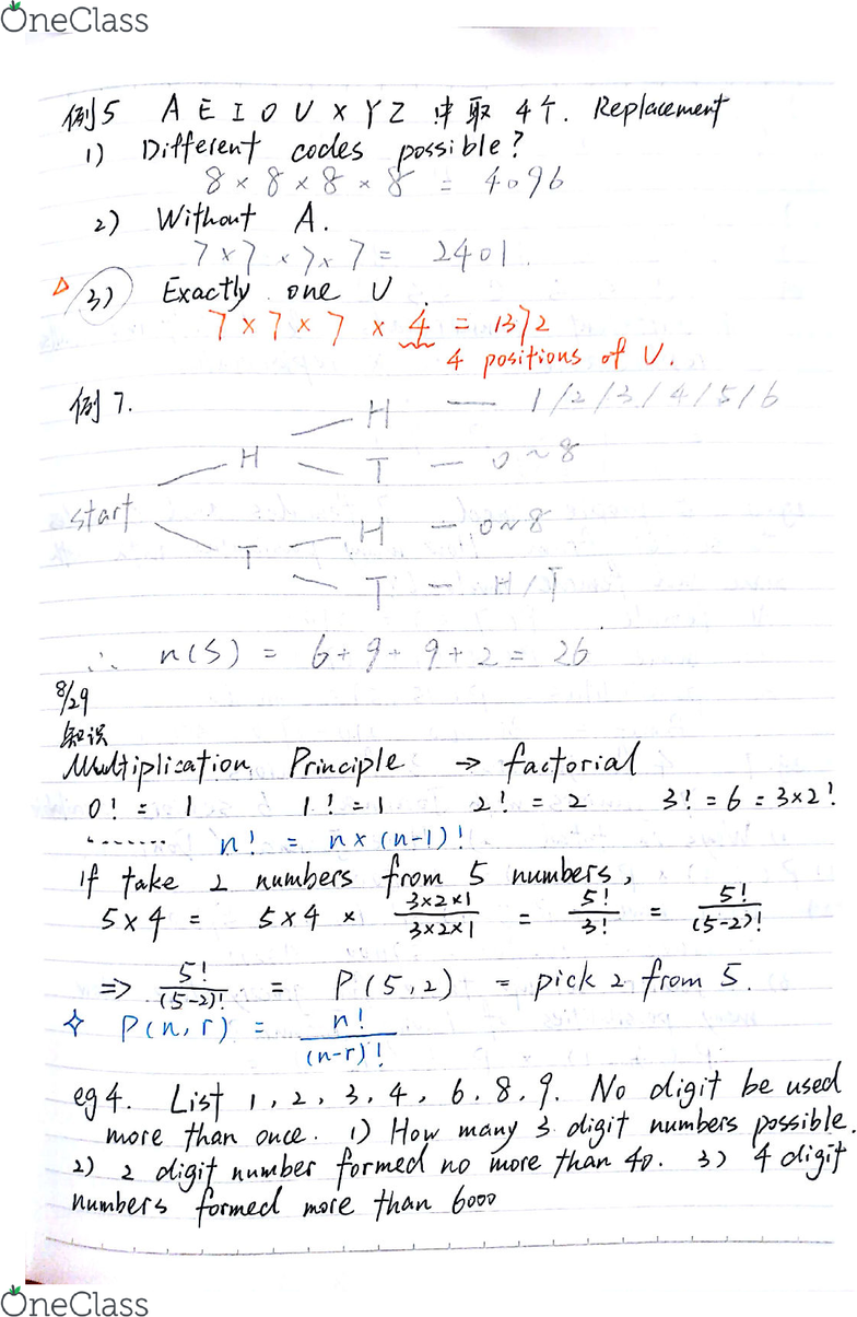MATH-M 118 Lecture 5: Math118-Lecture-Factorial and Possibility