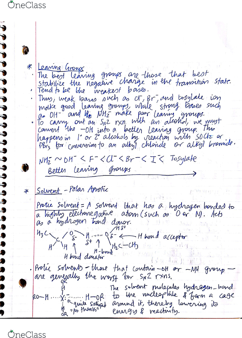 CHM136H1 Lecture Notes - Lecture 30: Dimethyl Sulfoxide, Leaving Group