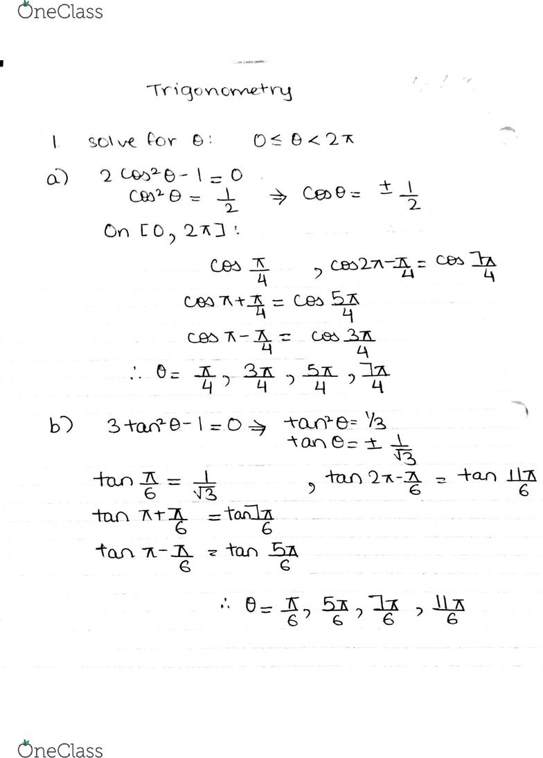 MATH127 Quiz: Inverse Trigonometry Practice Questions