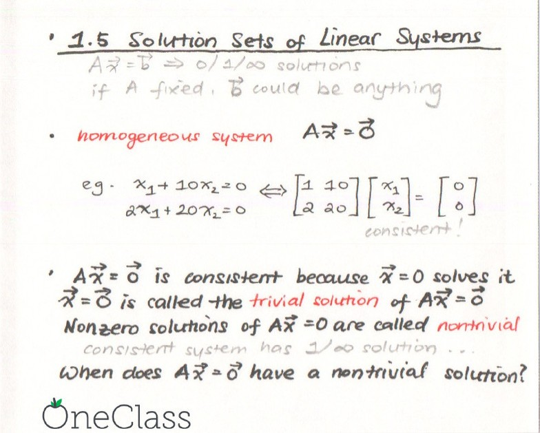 math221-1 5 solution sets of linear equations pdf - OneClass