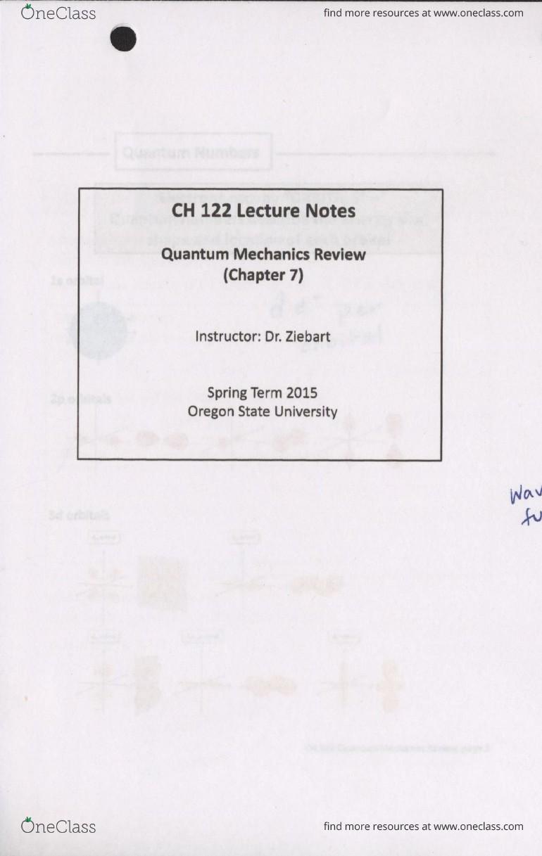 CH 122 Lecture 1: Chemistry 122: Quantum Mechanics