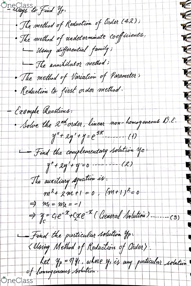 MATH 251 Lecture 13: Section 4 4: Non-Homogeneous Linear O D E