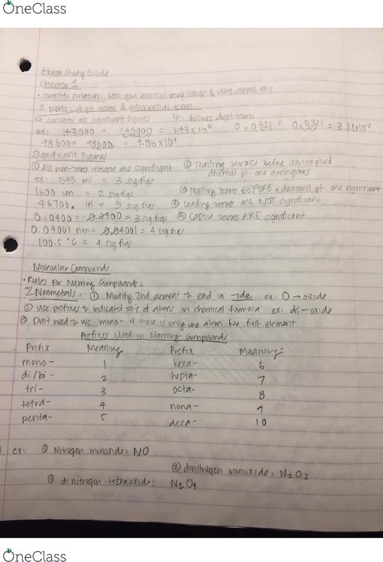 CHM 1020 Midterm: Exam 1 Study Guide - OneClass