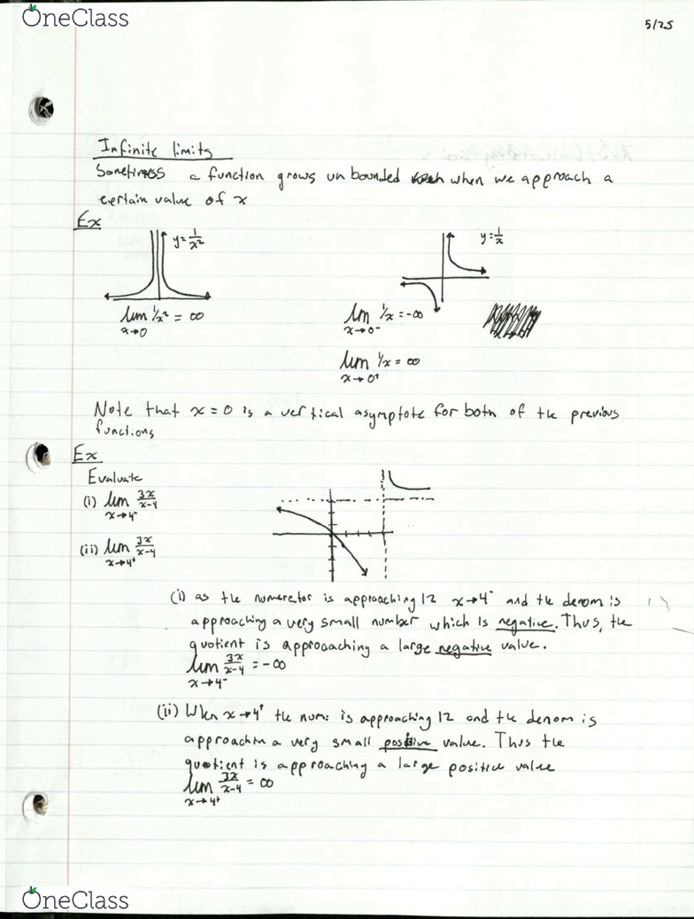 MAC 2311C Lecture 4: 2 2 The limit of a Function - OneClass