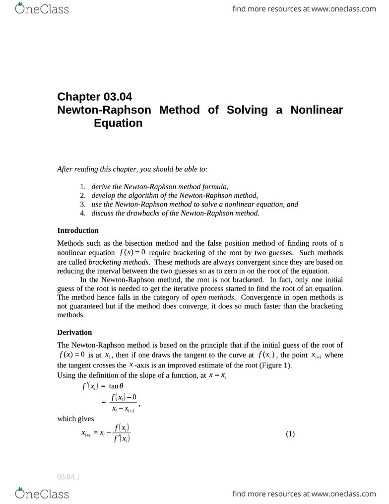 Newton-Raphson Method notes-CHBE 2120 - OneClass