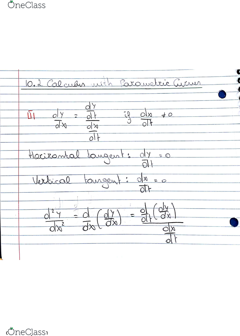 MATH 2D Chapter 10 2: Math 2D: Multivariable Calculus, Textbook Note 10 2:  Calculus with Parametric Curves