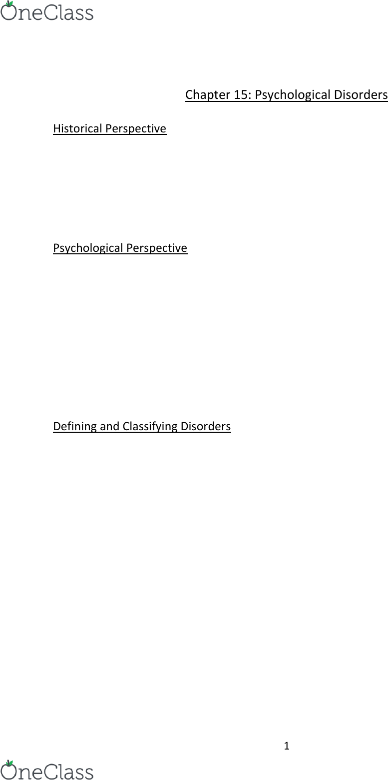 Psychology 1000 Textbook Notes - , Chapter 15