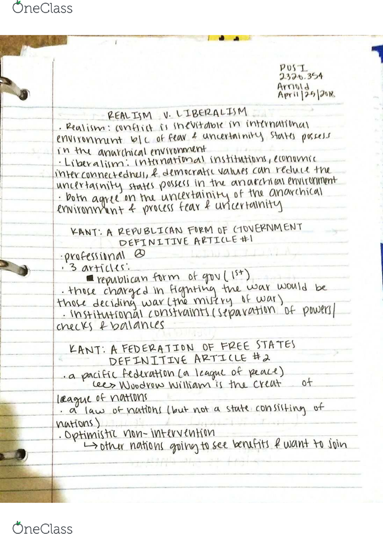 POSI - Political Science POSI 2320 Lecture Notes - Spring 2018
