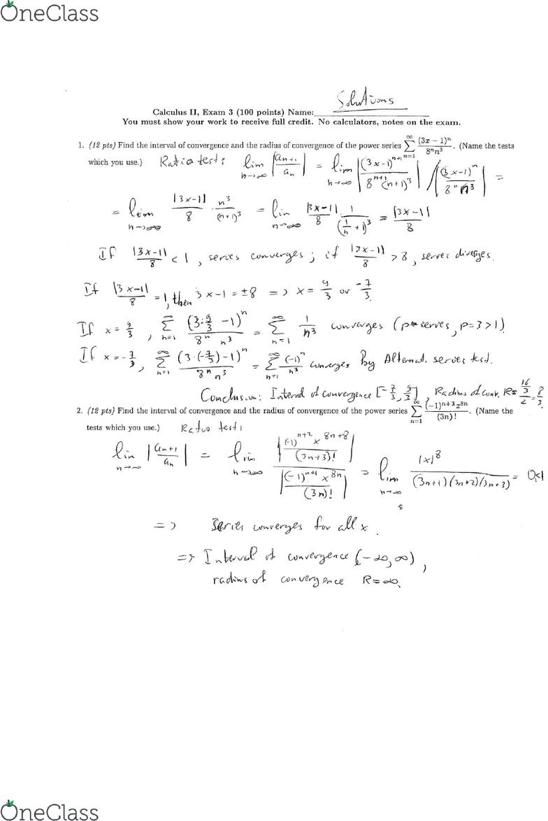 MATH 2153 Midterm: MATH2153 Exam 3 Solutions