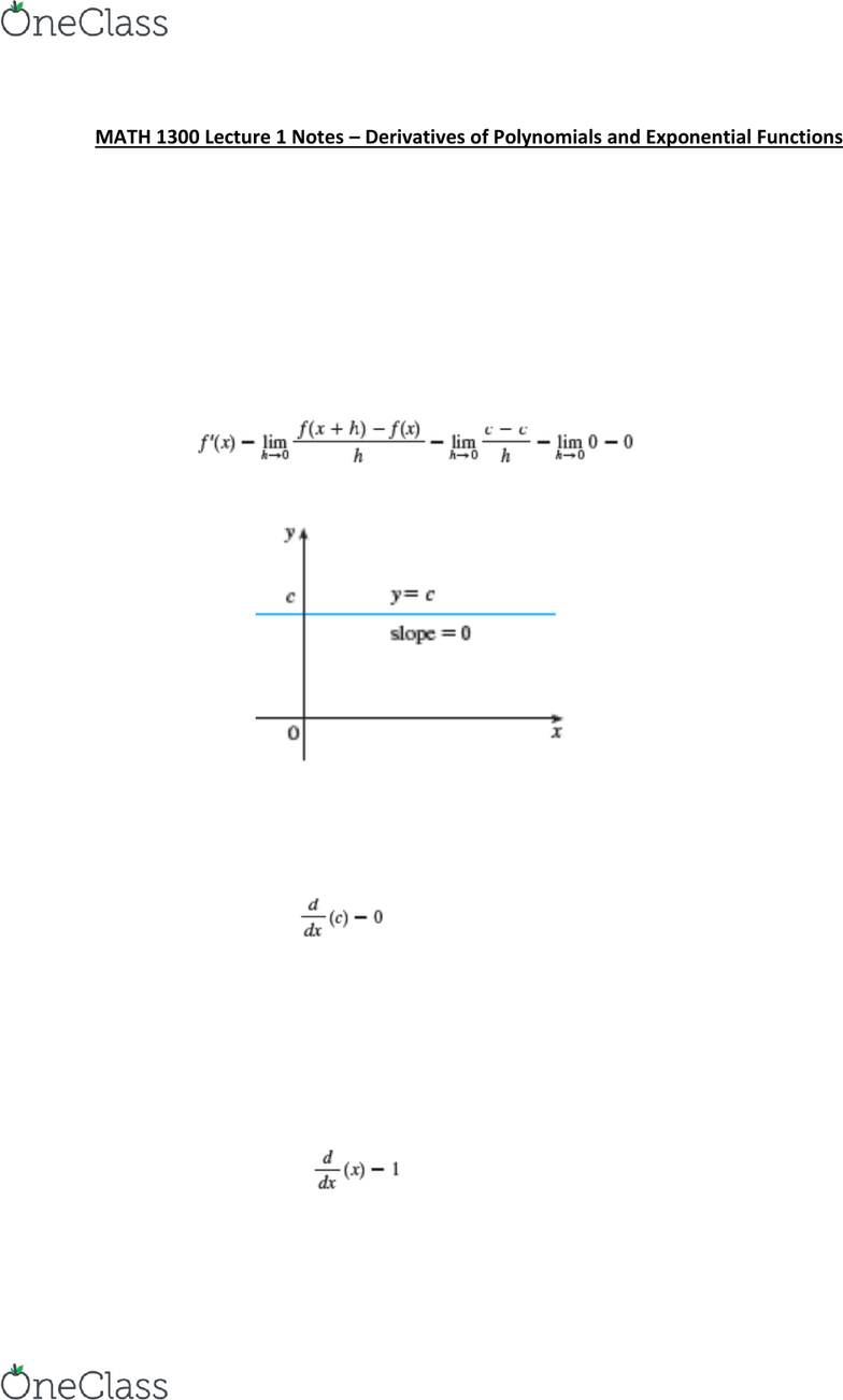 MATH 1300 Lecture 1 Notes – Derivatives of Polynomials and ...