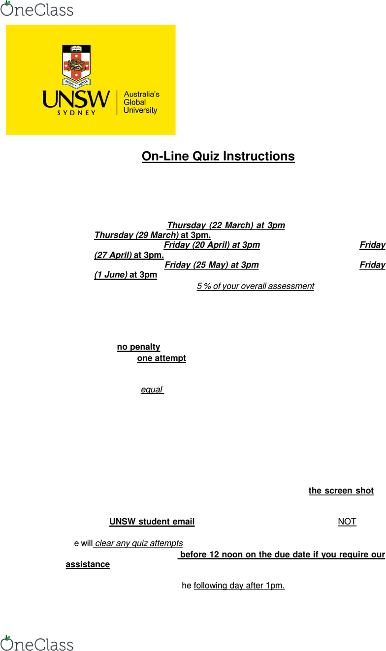 ACCT1501 Study Guide - Spring 2018, Quiz - Unsw Business
