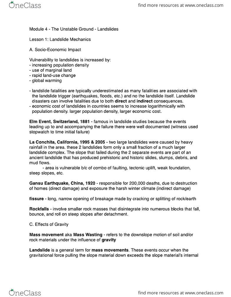 EOSC 114 Study Guide - Stopwatch, La Conchita, California, Mass Wasting