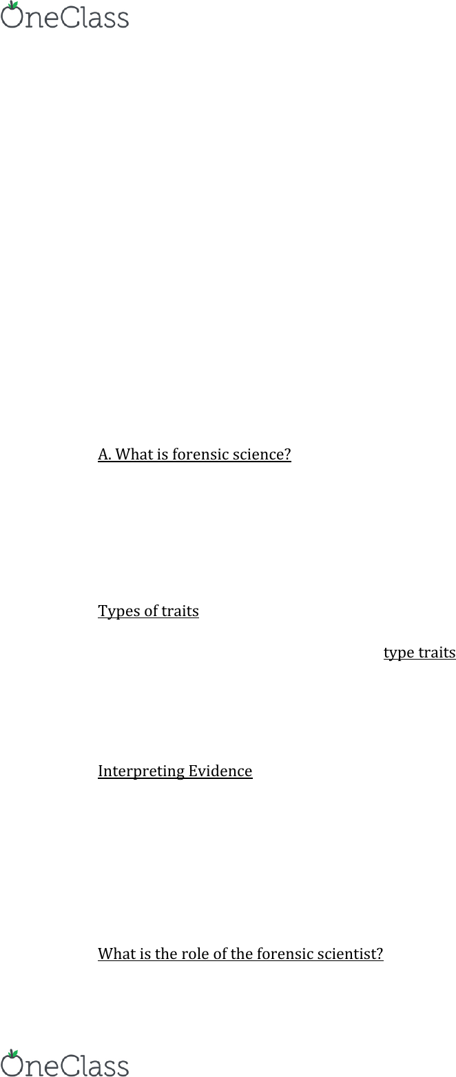 Anthropology 2235a B Lecture Notes Fall 2015 Lecture 1 Forensic Science Forensic Biology Forensic Psychology