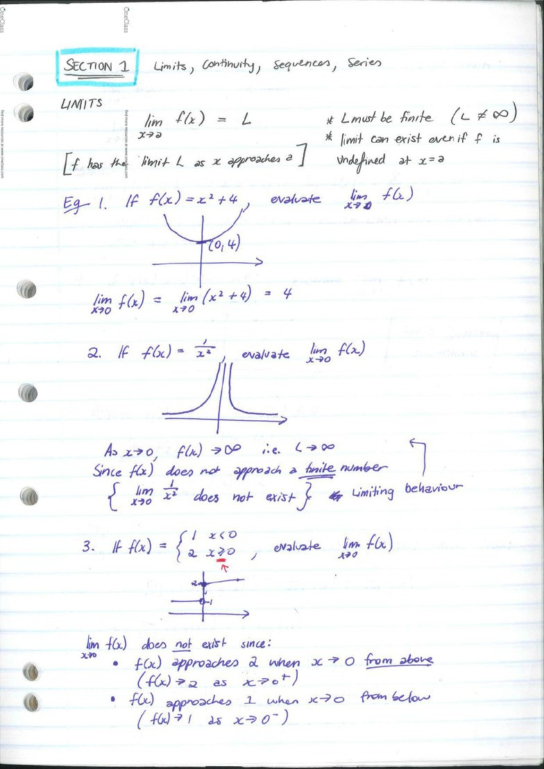 MAST10006 Calculus 2 Full Notes + Summary Notes - OneClass