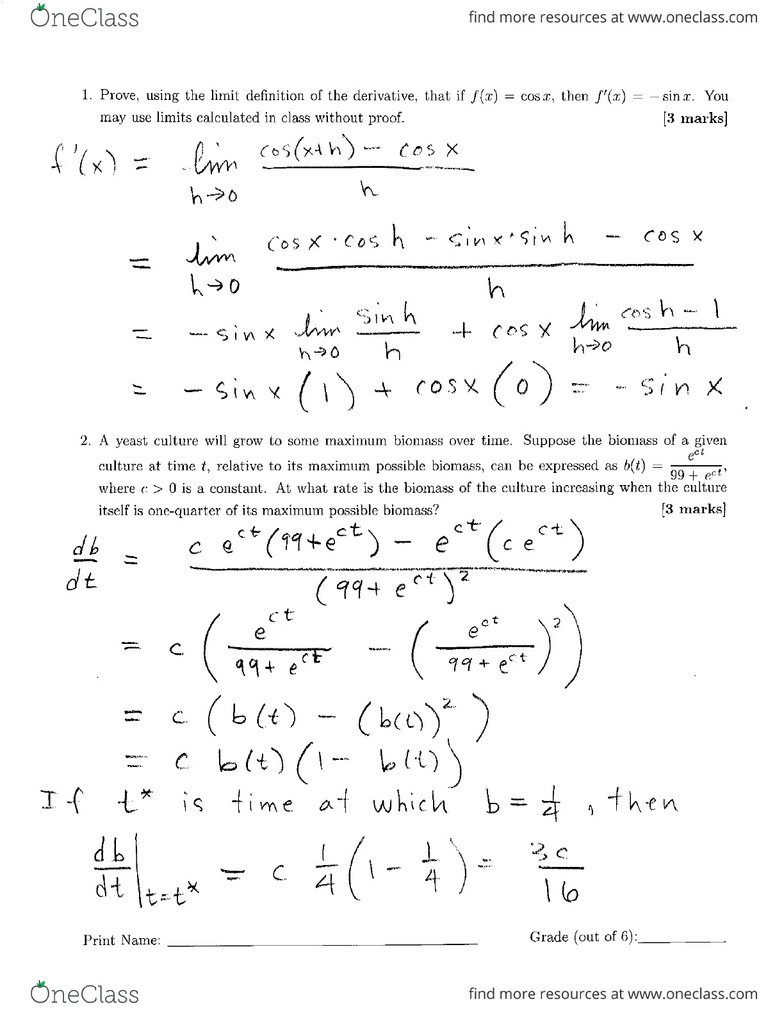 Calculus 1000 - Assignment 2 Solution pdf - OneClass