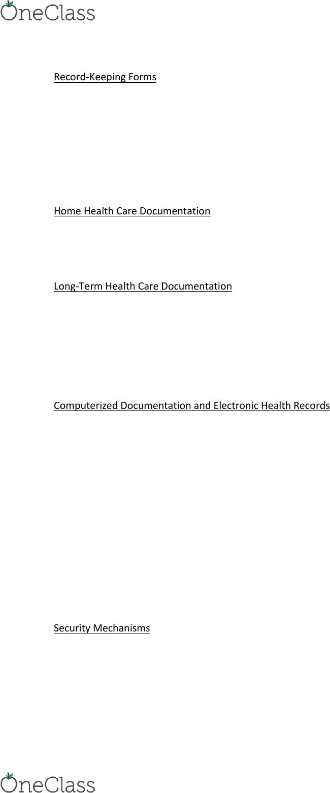 NSG 2113 Study Guide - Fall 2016, Final - Electronic Health
