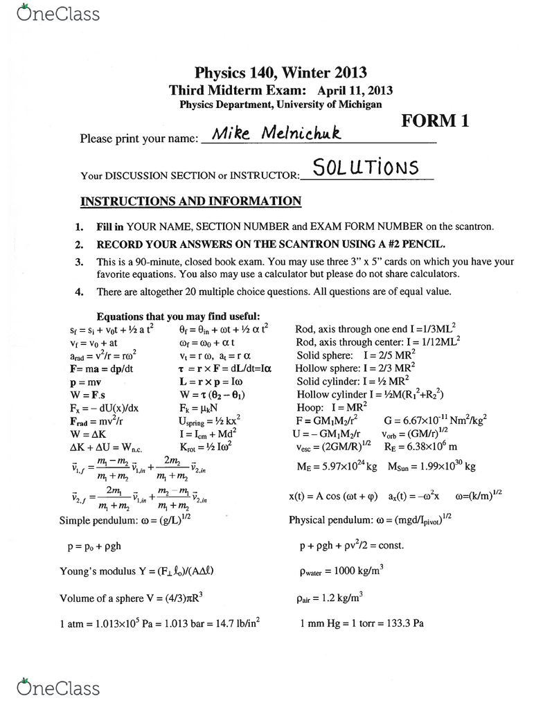 PHYSICS 140 Study Guide - Winter 2017, Midterm - Switch, Scantron