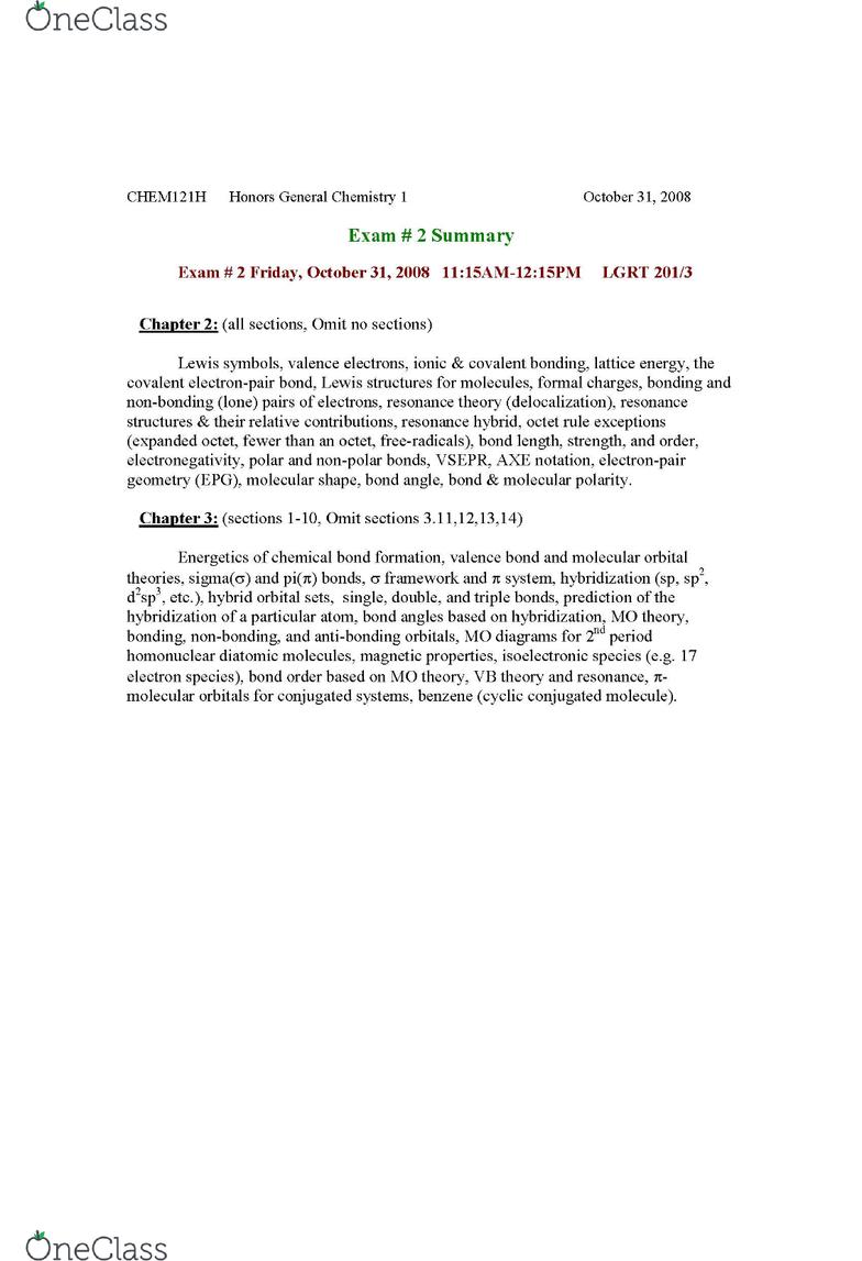 CHEM 121 Study Guide - Midterm Guide: Antibonding Molecular Orbital,  Isoelectronicity, Bond Length