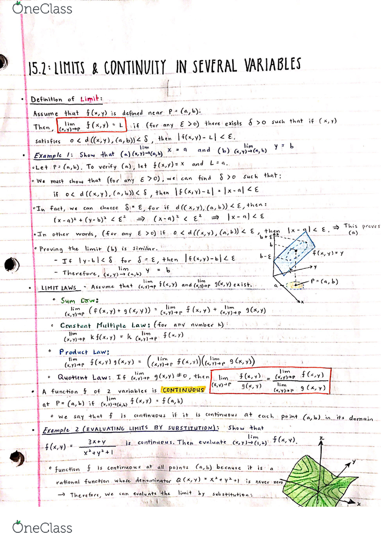 MATH 32A Chapter 15 2: 15 2 - Limits and Continuity in