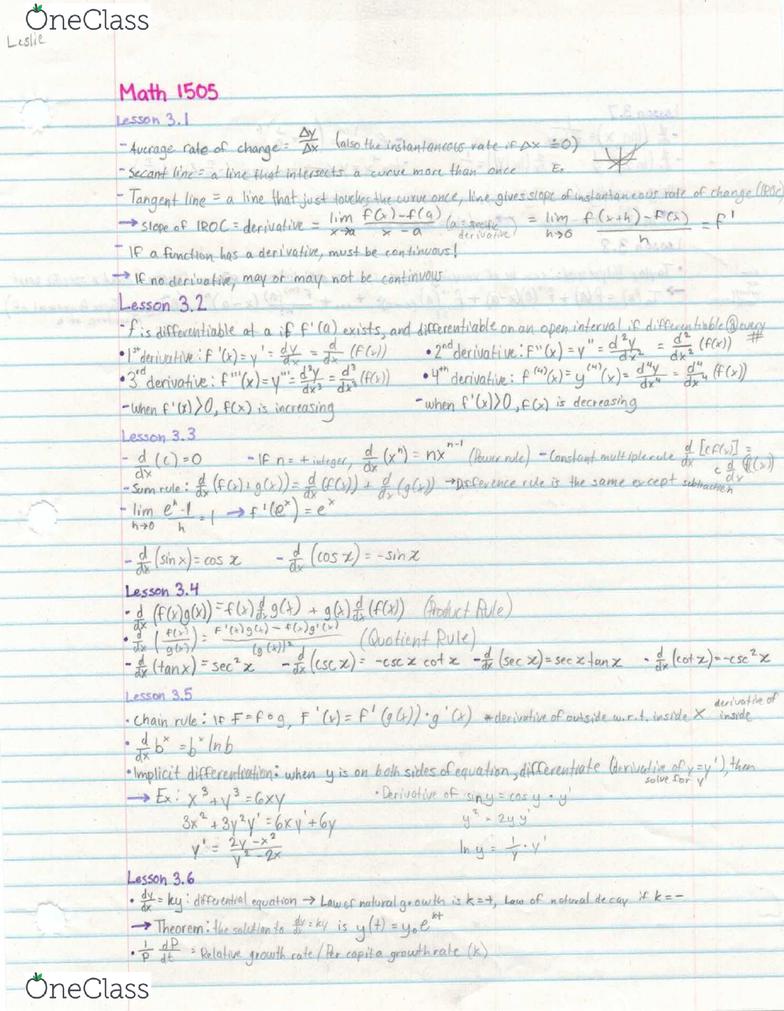 MATH 1505 Chapter 3: Math 1505 Chapter 3 Notes PDF