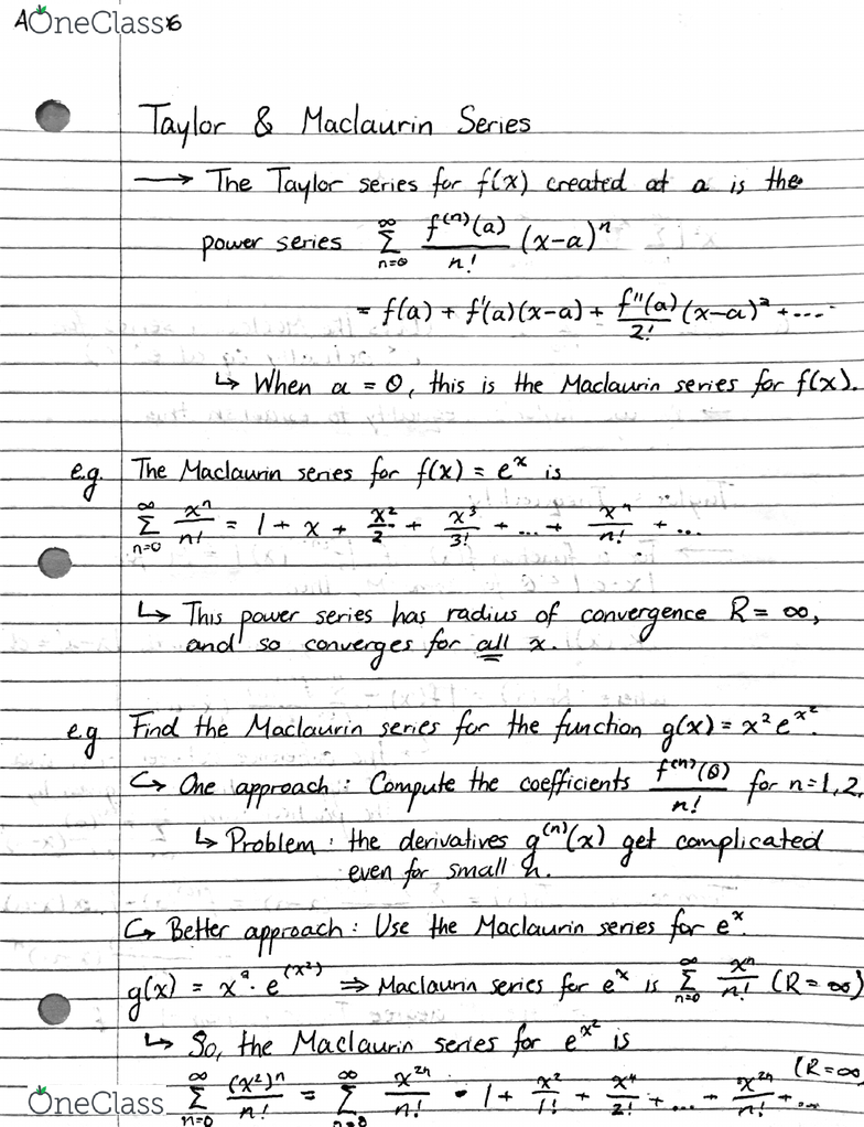 ARTSSCI 1D06 Lecture 78: Note 78 - Taylor & Maclaurin Series