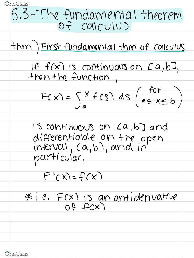 MAC 2311 Lecture 33: 5 3 - The Fundamental Theorem of