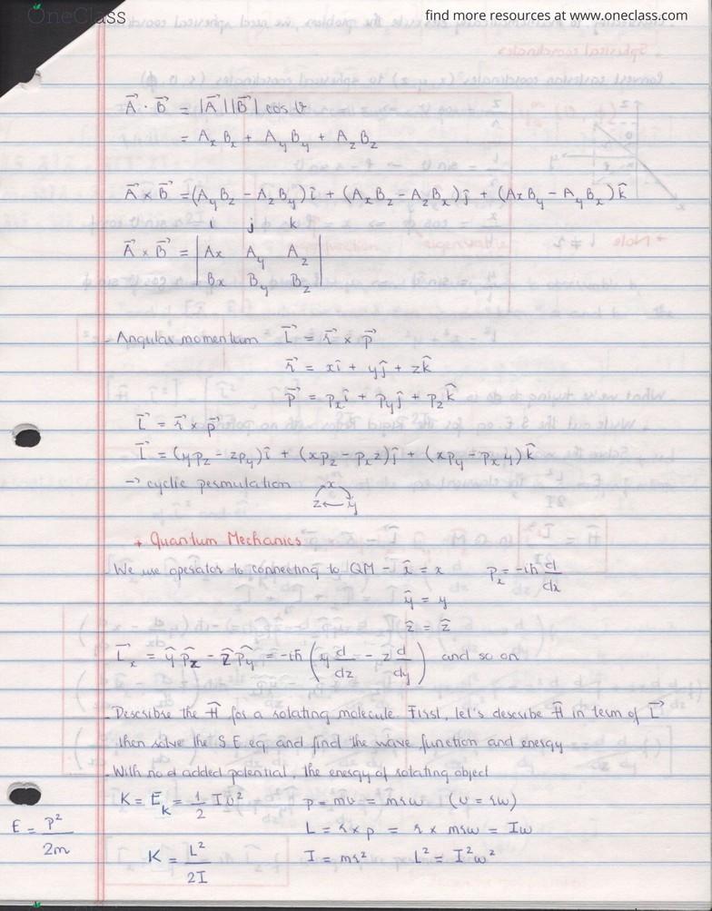Harmonic Oscillator - Rigid Rotor - Hydrogen Atoms Notes