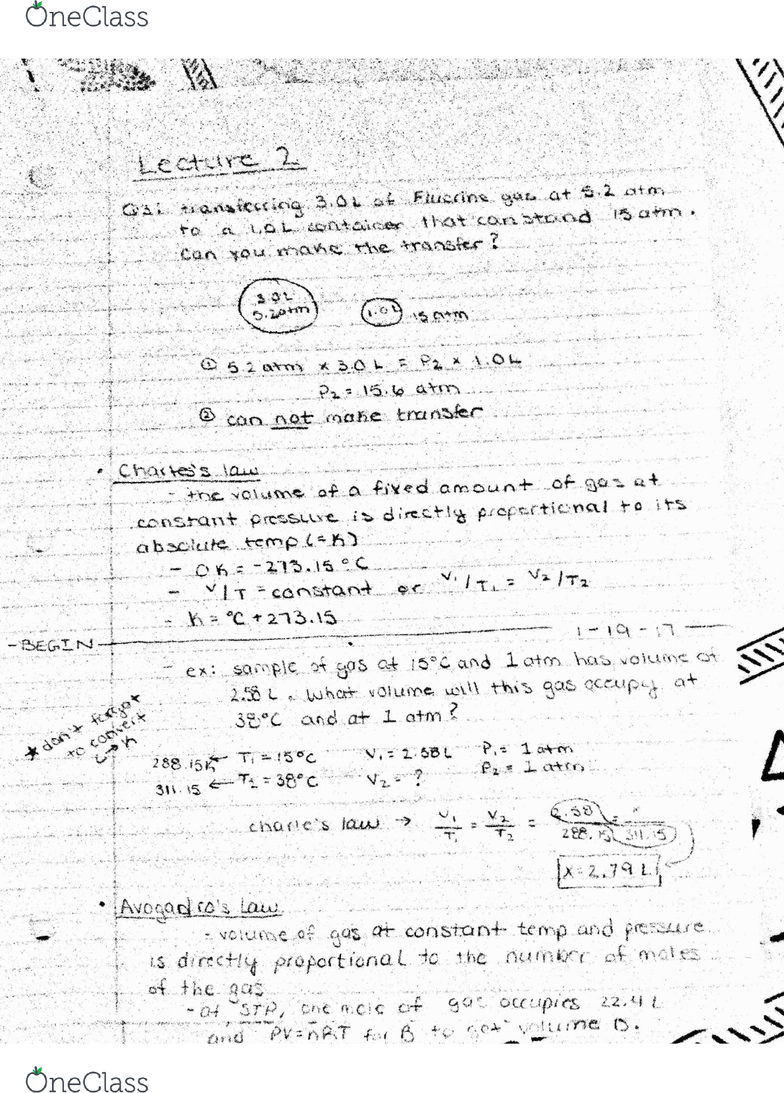 CHY 122 Lecture 2: Avogadro's #, Ideal vs Real gases, Combined Gas Law, &  Molar Mass