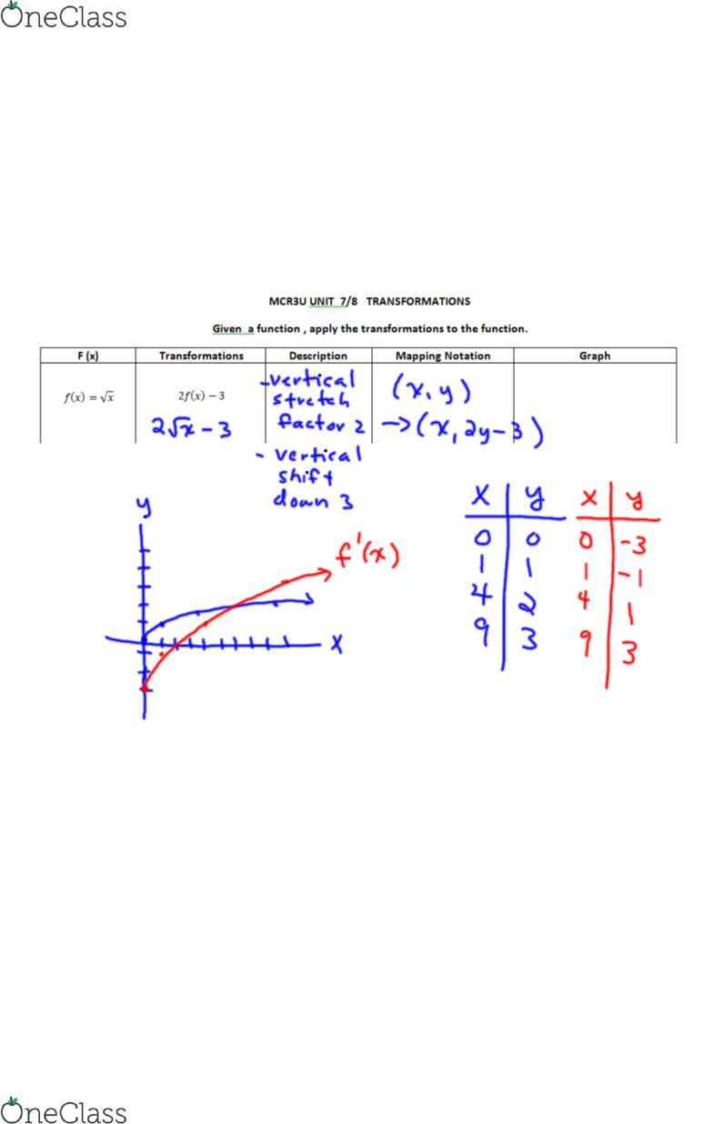 AMATH 231 Lecture 1: MCR3U UNIT 7&8 L3 - OneClass