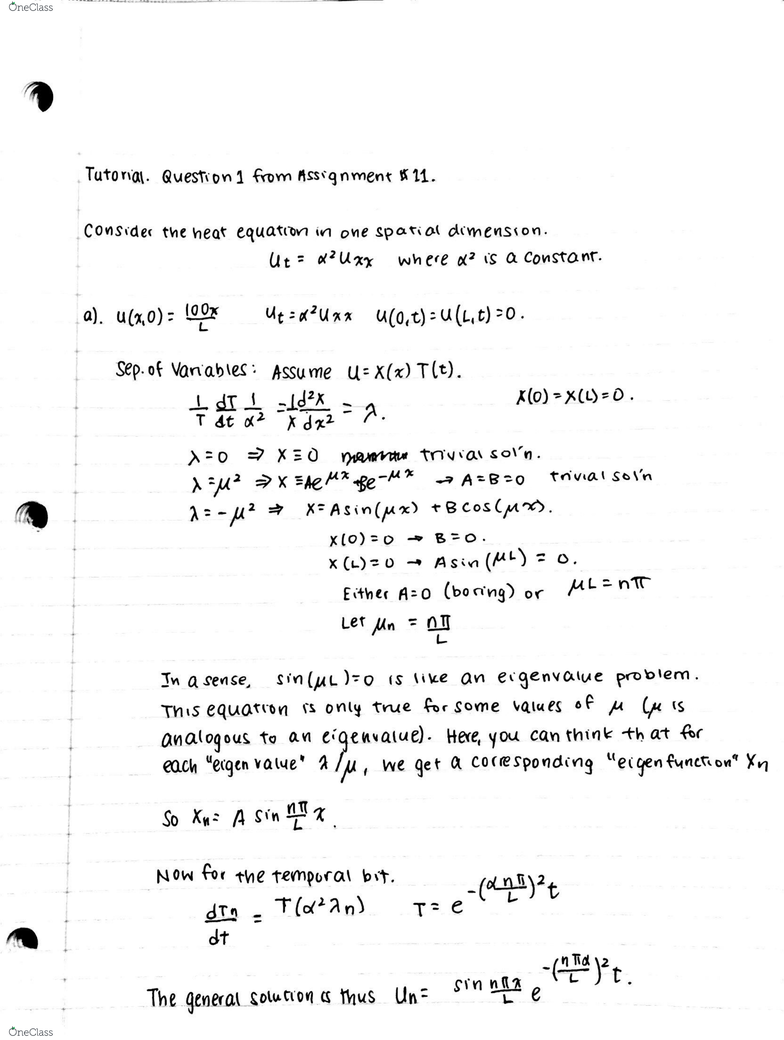 ECE205 Study Guide - Quiz Guide: Heat Equation