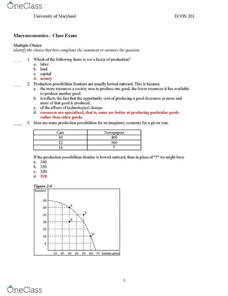 Econ 201 midterm quizlet