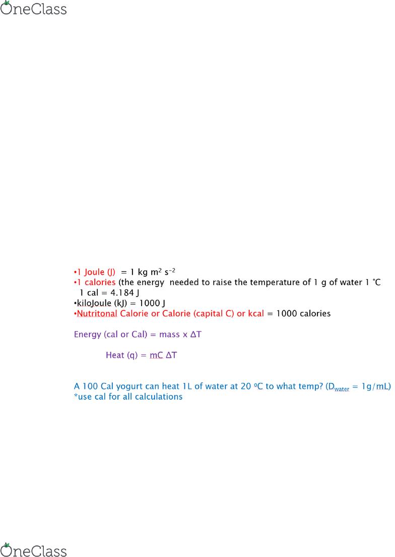 CHEM 1122 Study Guide - Fall 2018, Quiz - Stoichiometry, Calorimetry