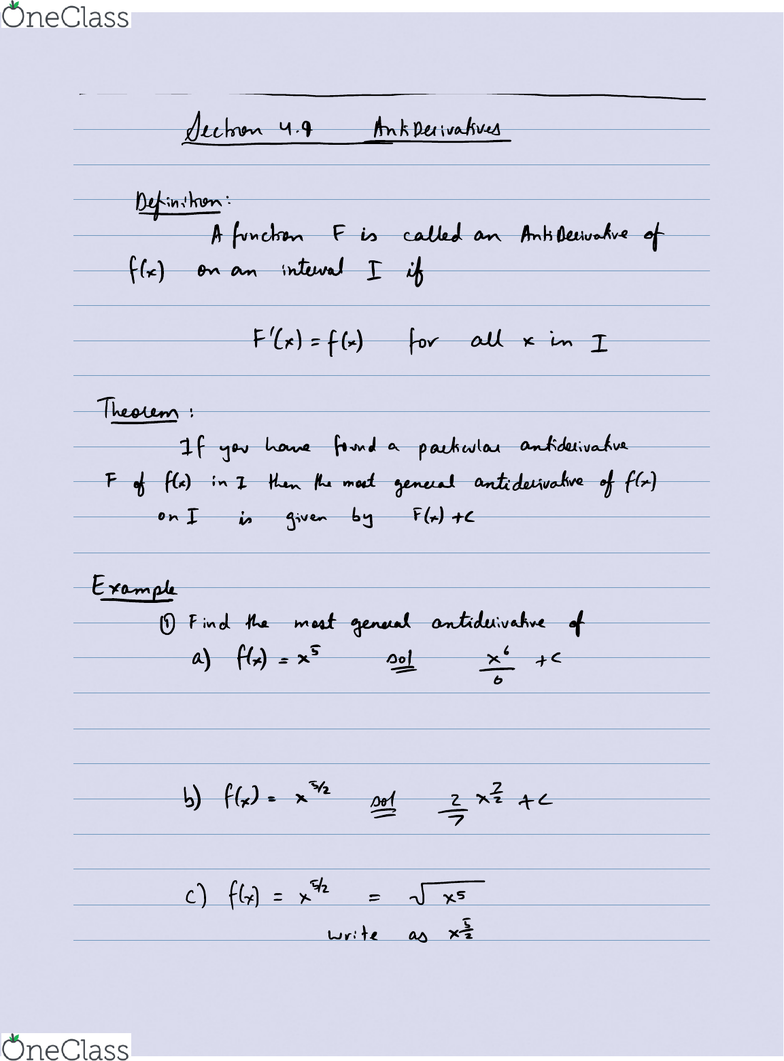 MAT135Y5 Lecture 36: Week 12 - AntiDerivatives and Sigma Notation