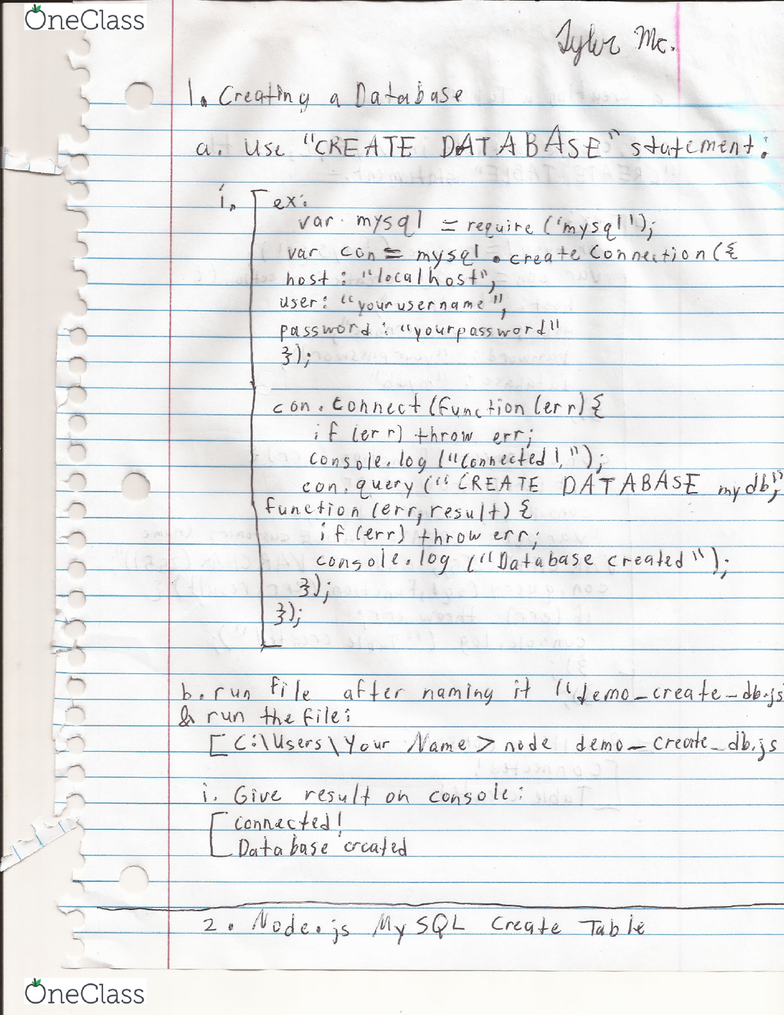 CS 1425 Lecture 6: Node js Make Database and Make Table in MySQL