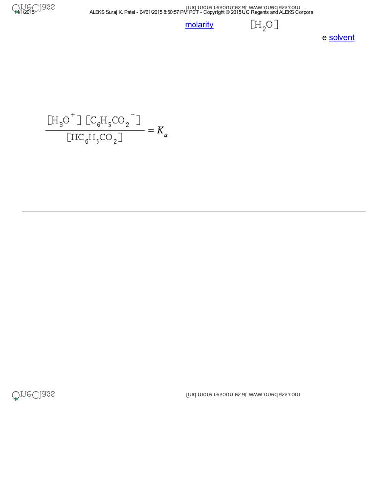 CHEM 001C Chapter ALEKS: Writing an acid dissociation constant