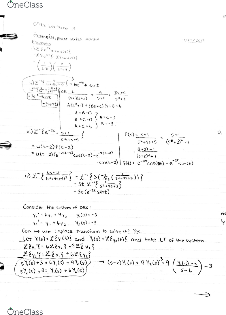MAT2384 Lecture 20: More examples, Power series review