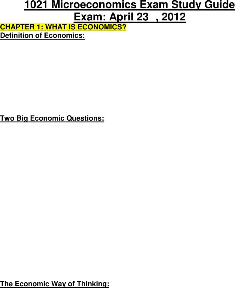 Economics 1021A/B Microeconomics Exam Study Guide docx