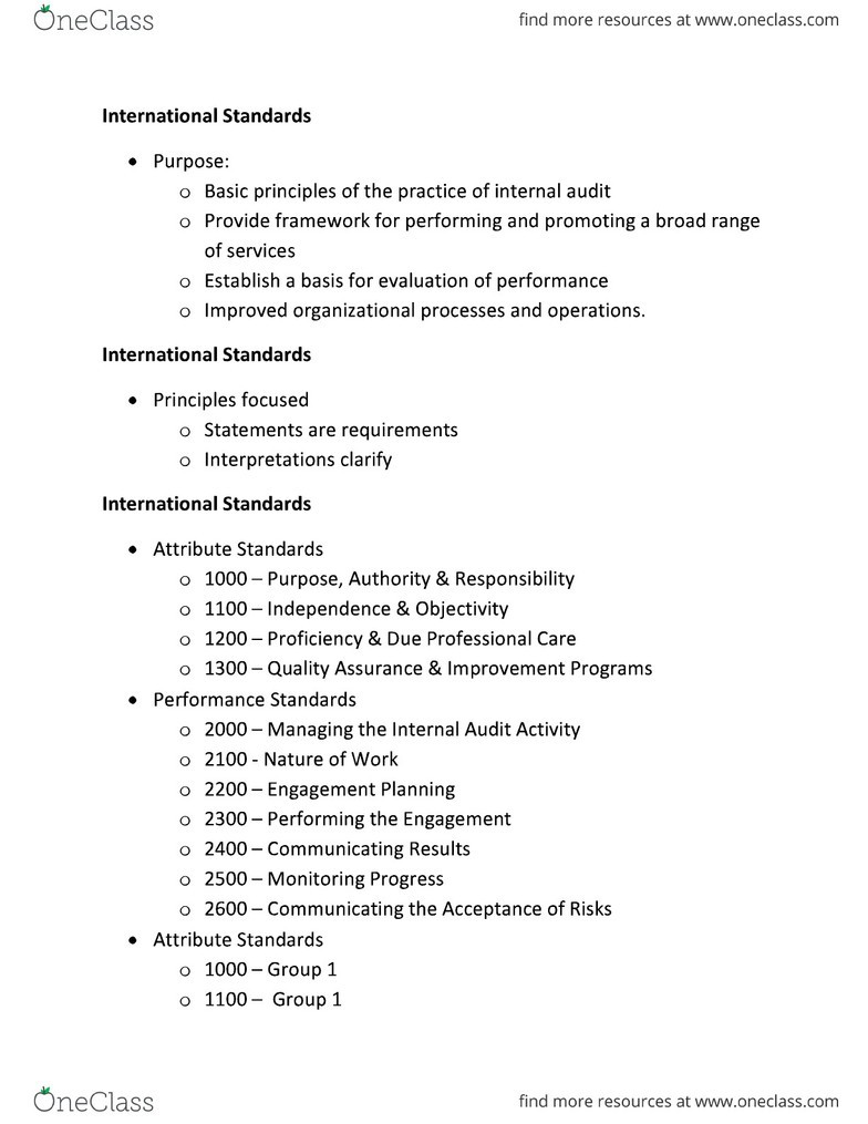 ACCT 463 Study Guide - Internal Audit