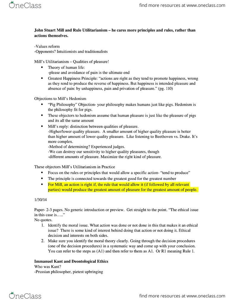 CMS 322E Study Guide Spring 2014 Quiz John Stuart Mill