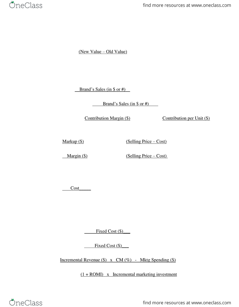 MKT 100 Study Guide - Fall 2013, Final - Herfindahl Index