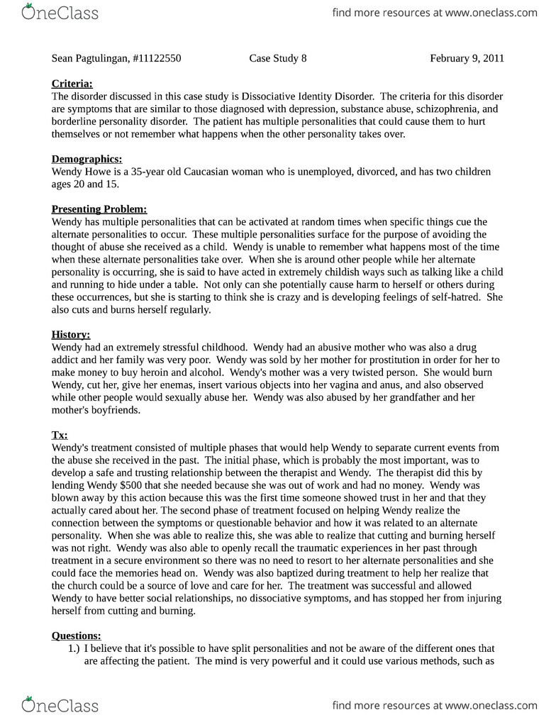 PSYCH 333 Study Guide - Dissociative Identity Disorder, Dance India Dance,  Borderline Personality Disorder