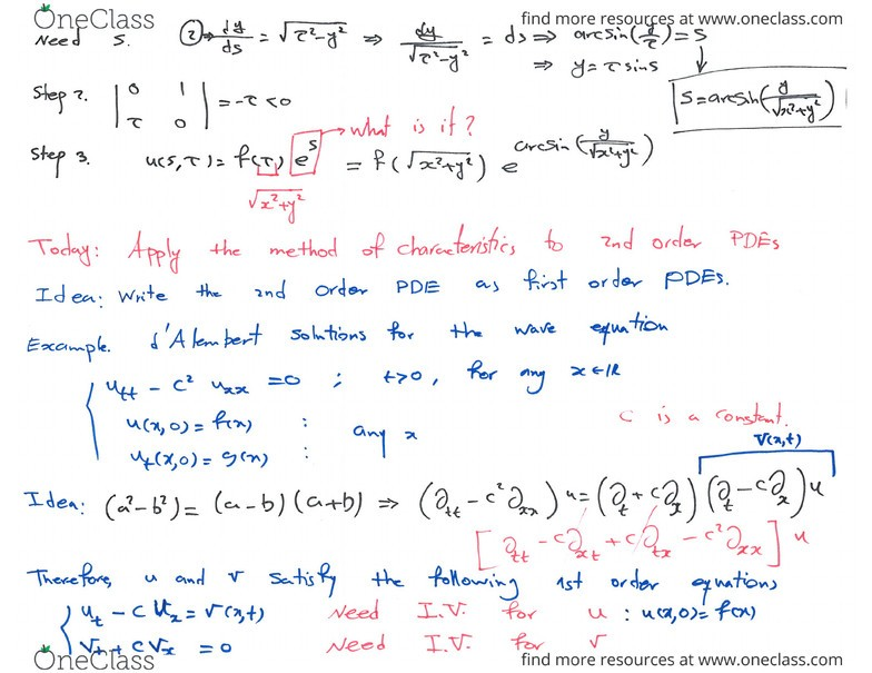 MATH 300 Lecture 3: (Week 3) 2nd Order PDEs via first order PDEs