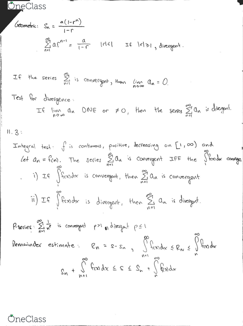 MATH 1B Midterm: Tests for convergence and divergence