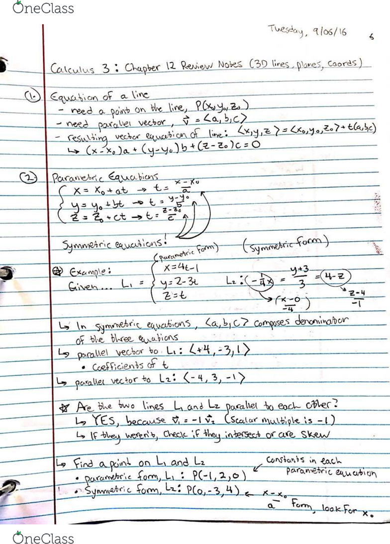 MATH 20550 Quiz: Calculus 3: Chapter 12 Review (3D Space and